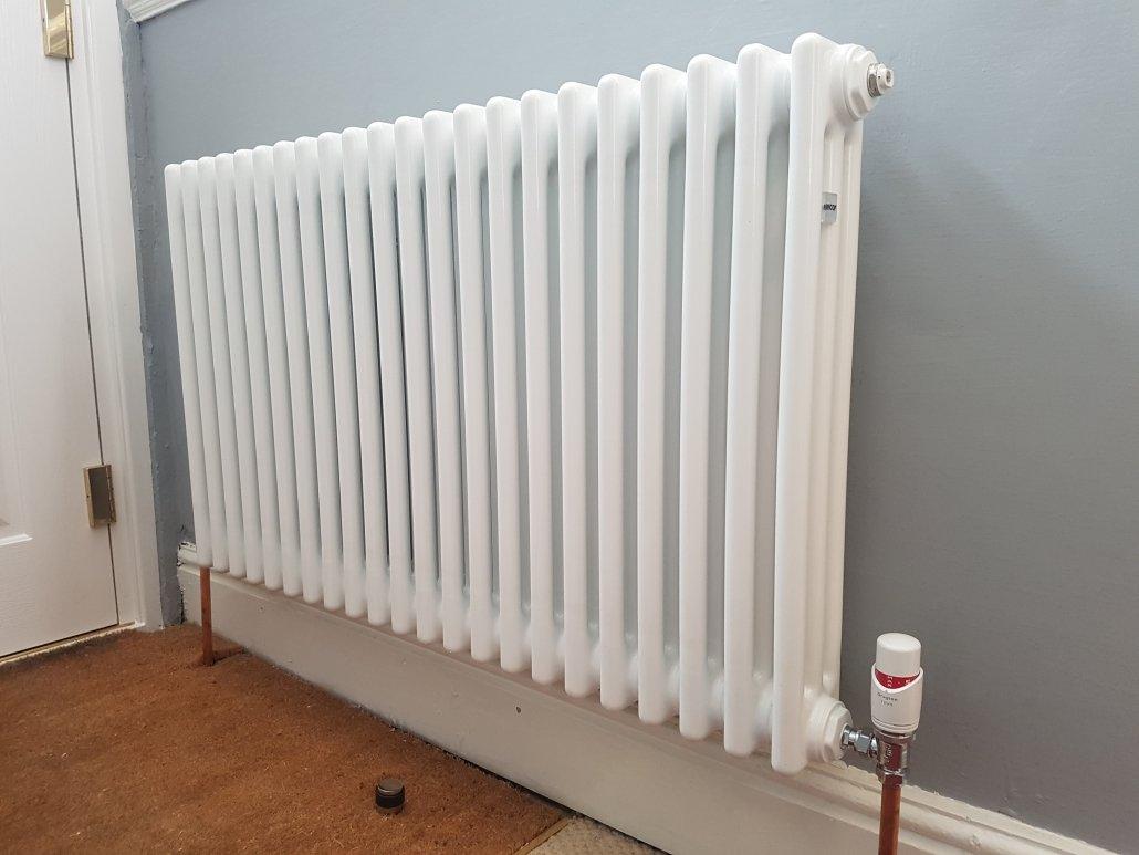 Triple column radiator installed in Cambridge.