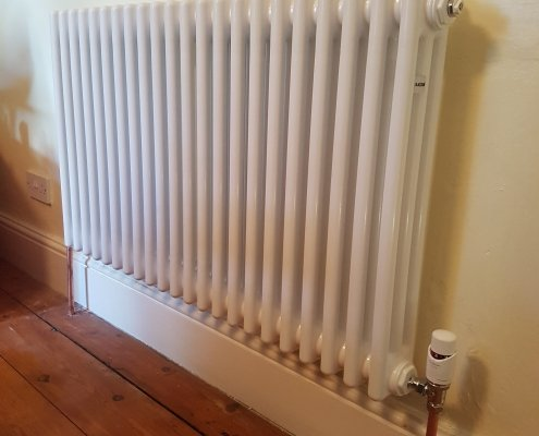 Column radiator installed in Cambridge