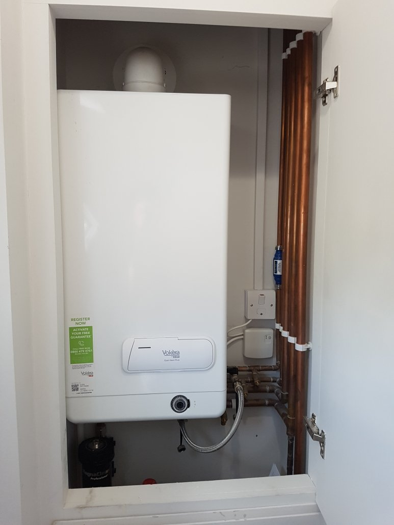 Vokera combination boiler installed in a new build property in Cambridge.
